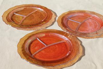 vintage marigold iridescent luster glass, Federal Normandie divided grill plates