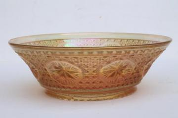 vintage marigold luster carnival glass bowl, Imperial star medallion button pattern