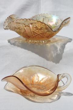 vintage marigold luster carnival glass dishes, bowl & nappy w/ ring handle