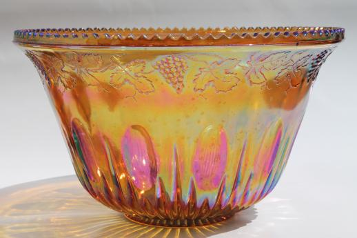Vintage Marigold Luster Carnival Glass Grapes Punch Bowl Amp Cups Iridescent Amber Color
