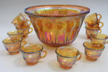 vintage marigold luster carnival glass grapes punch bowl & cups, iridescent amber color