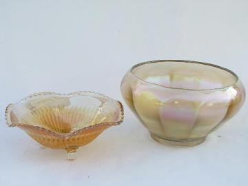 vintage marigold luster carnival glass lot, paneled optic rose bowl, ruffled candy dish