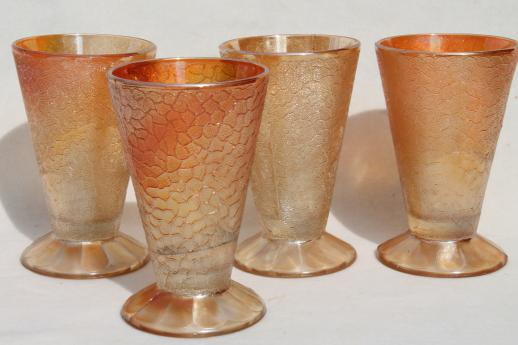 vintage marigold luster lemonade set, crackle pattern depression glass pitcher & glasses