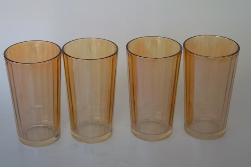 vintage marigold peach luster glass tumblers, Jeannette panel optic pattern