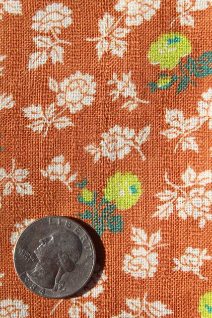 vintage matched sacks feed sack fabric, woven stripe cotton flower print apple green on rust