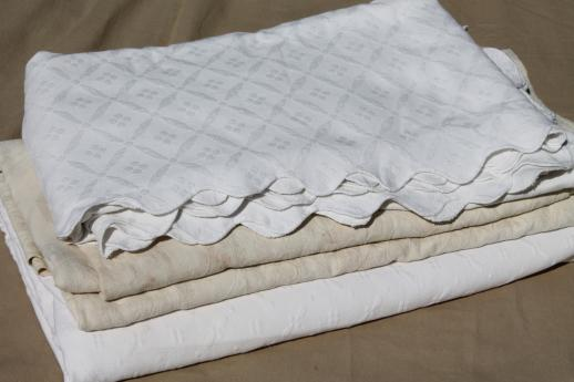 Vintage Matelasse Textured Cotton Bedspreads Or Bed Covers, Antique Coverlet  Lot