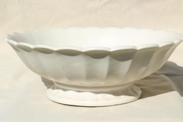 vintage matte white pottery bowl, huge centerpiece fruit flower bowl, fluted ironstone shape