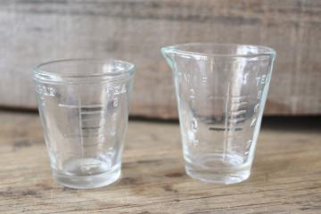 vintage medicine glasses, shot glass size w/ embossed measures marked doses