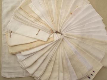 vintage men's handkerchiefs, 40 cotton blend & white cotton hankerchiefs