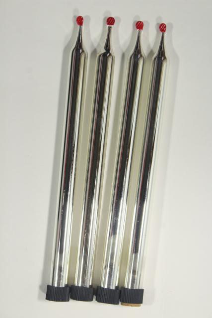 vintage mercury glass candles, hand blown silvered glass ornaments life size candle tapers