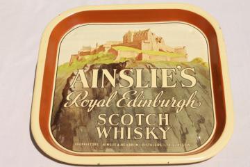 vintage metal bar tray advertising Ainslie's Royal Edinburgh Scotch Whisky