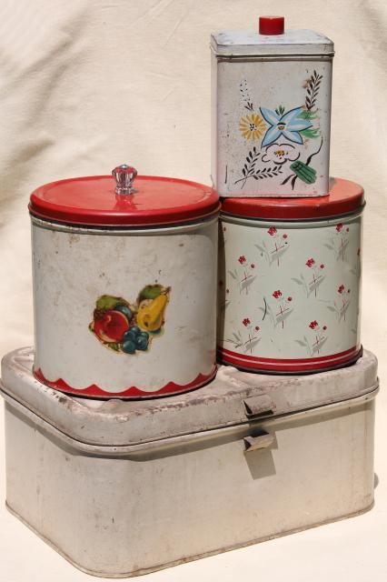 Vintage Metal Bread Box Tin Amp Kitchen Canisters Retro
