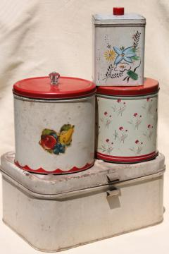 vintage metal bread box tin & kitchen canisters, retro fixer-uppers to paint or upcycle