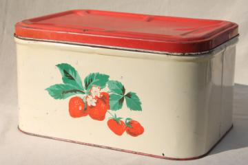 vintage metal bread box tin, red strawberries print, strawberry kitchen ware