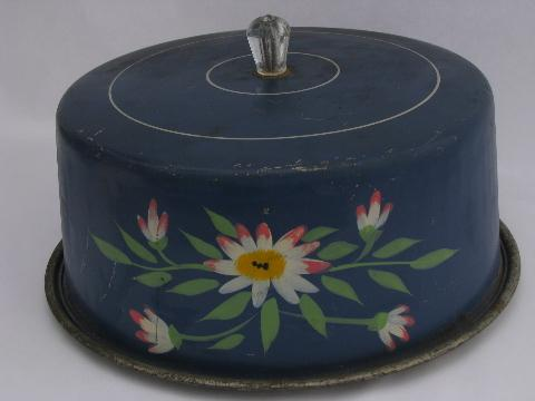 Vintage Metal Cake Keeper Carrier Hand Painted Cover W