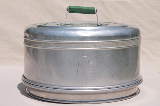 vintage metal cake / pie keeper saver cake plate w/ dome cover jadite green handle : metal cake plate - Pezcame.Com