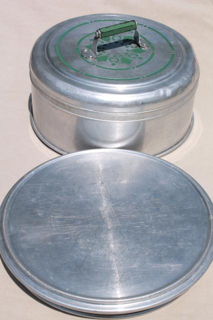 vintage metal cake / pie keeper saver, cake plate w/ dome cover, jadite green handle