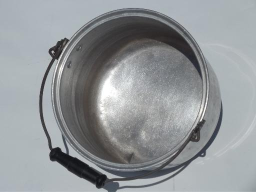 vintage metal camping kettle, large aluminum pot w/ wooden bucket handle