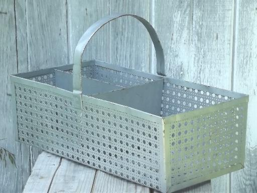 vintage metal carrier tote basket w/ old galvanized silver paint