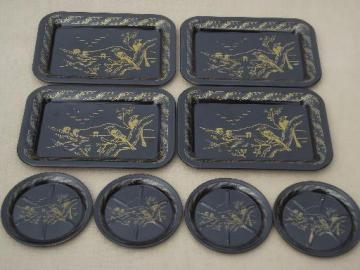 vintage metal coasters & cocktail trays set, chinoiserie  black w/ gold tole