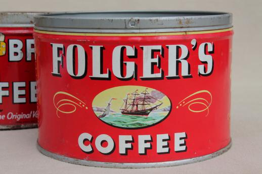 Vintage Metal Coffee Can Lot Old Litho Print Advertising Tins Hills Bros Folgers
