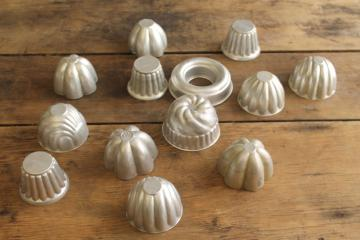 vintage metal jello or baking molds, assorted shapes great for crafts or soapmaking
