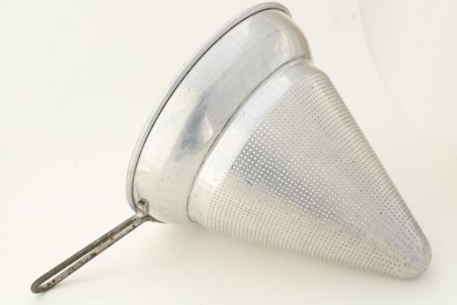 vintage metal kitchen strainer sieve colander, aluminum cone food mill basket