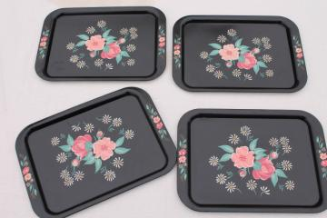 vintage metal lap trays, flowers on black print toleware tin tray set of four