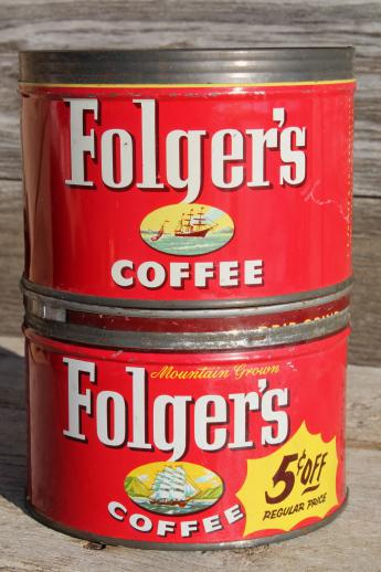 Vintage Metal Lid Coffee Can Lot Old Litho Print Folger S Advertising
