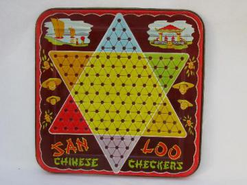 Vintage metal litho san loo chinese checkers game board st louis