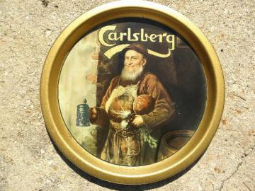 vintage metal litho bar tray, Carlsberg beer jolly publican or brewer