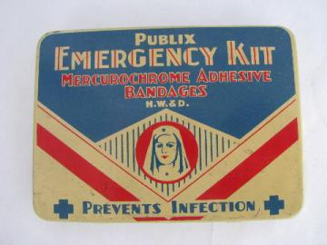 vintage metal litho first aid kit bandage tin, nurse in uniform illustration