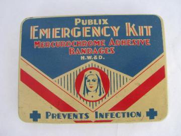 vintage metal litho first aid kit bandage tin, nurse in uniform illustration