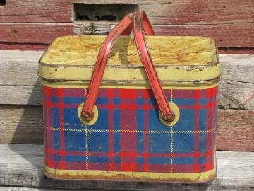 vintage metal litho picnic basket hamper tin, red & blue plaid print