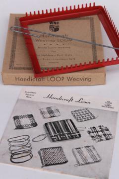 vintage metal looper loom, Handicraft lap frame loom for loop woven pot holder squares