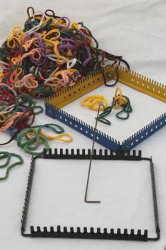 vintage metal looper looms, lap loom lot for loop woven pot holder squares