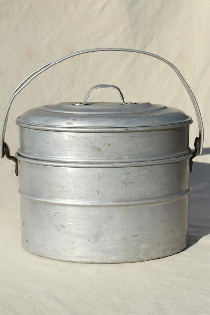 Vintage Metal Lunch Bucket Wearever Aluminum Stacking