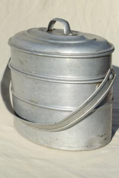 vintage metal lunch bucket, Wearever aluminum stacking tiffin box miners lunch pail