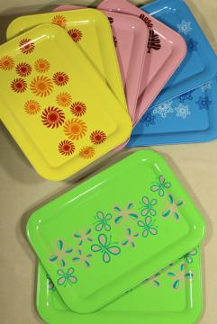 vintage metal meal serving / lap trays, retro seasonal print seasons of the year