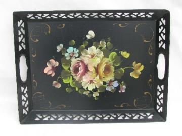 vintage metal openwork tole tray, hand-painted flowers floral bouquet