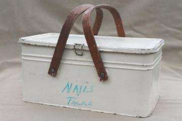 vintage metal picnic basket, small picnic hamper w/ wood handles, old cookie / cracker tin