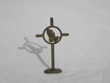 vintage metal prayer cross w/devotional hands for religious shrine