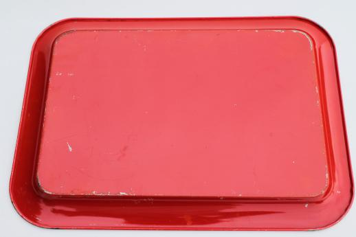 vintage metal serving tray w/ pink rose print, red trim tray for retro kitchen