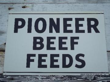 vintage metal sign Pioneer Beef Feed, old farm feed mill advertising