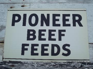 vintage metal sign Pioneer Beef Feed, old  farm feed mill advertising