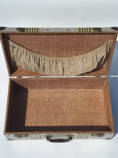 vintage metal suitcase, retro 1940s tin litho picnic box or carrying case