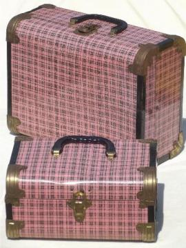 vintage metal suitcases, pink plaid tin litho doll trunk child's toy luggage