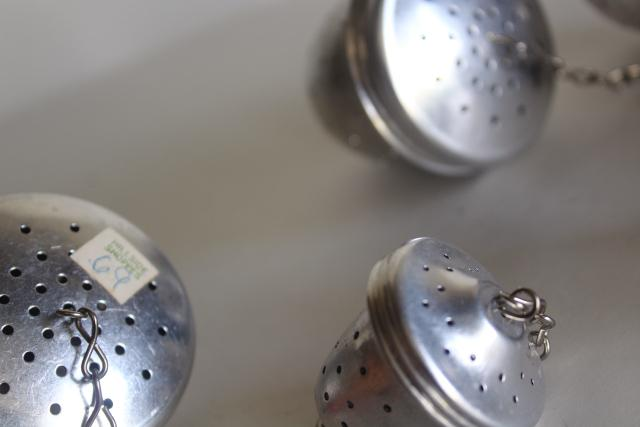 vintage metal tea balls, loose tea strainer brewing baskets in mug cup & pot sizes