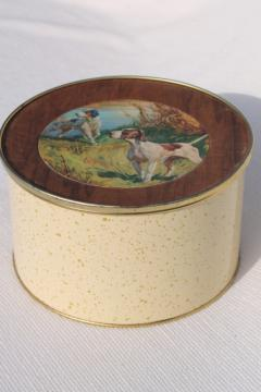 vintage metal tin w/ hunting bird dog pointer hounds, hunting scene illustration