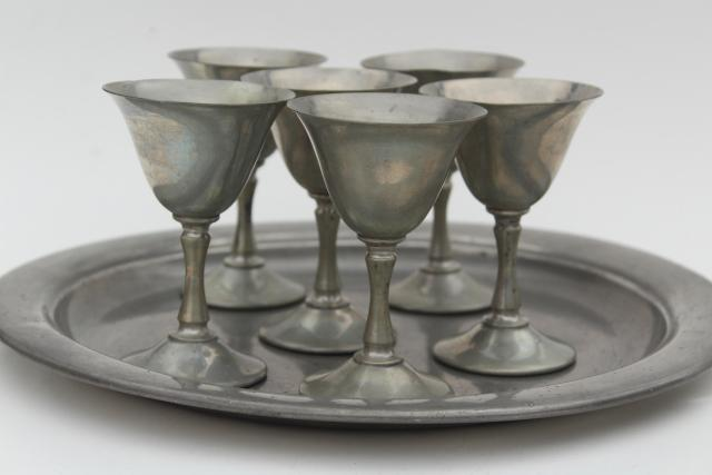 vintage metal tray & goblets, wine glasses set, old Rockford Silver pewter